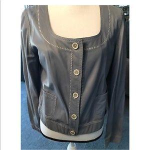 Elie Tahari bluish grey leather jacket